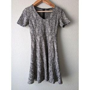 Theory Nikay Parcel Herringbone Tweed V-Neck Dress